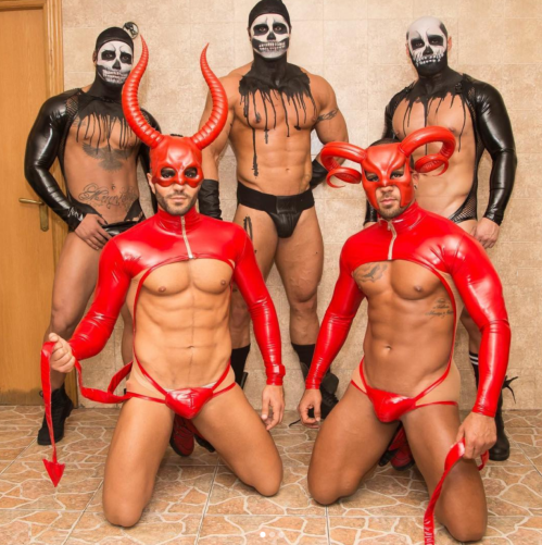 halloween, handsome, hunks, costume, latex, rubber