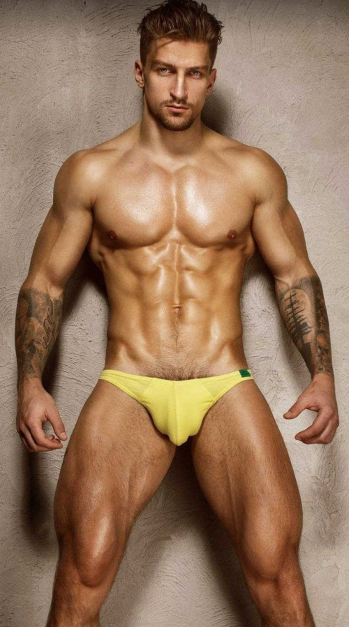 handsome, hunk, yellow, speedo, muscles