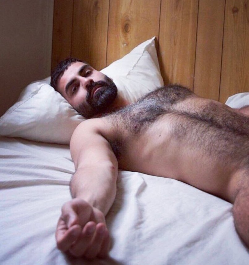 naked man in bed, hairy chest, hunk, furry guy, handsome man in bed