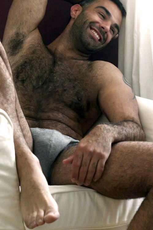 handsome, hunk, hairy guy, grey underwear, guy in bed