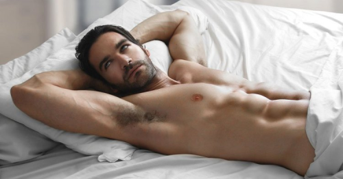 naked man in bed, sexy guy, handsome, hunk