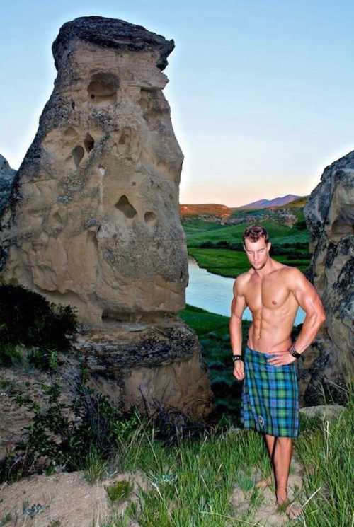 shirtless man in kilt, handsome, man candy