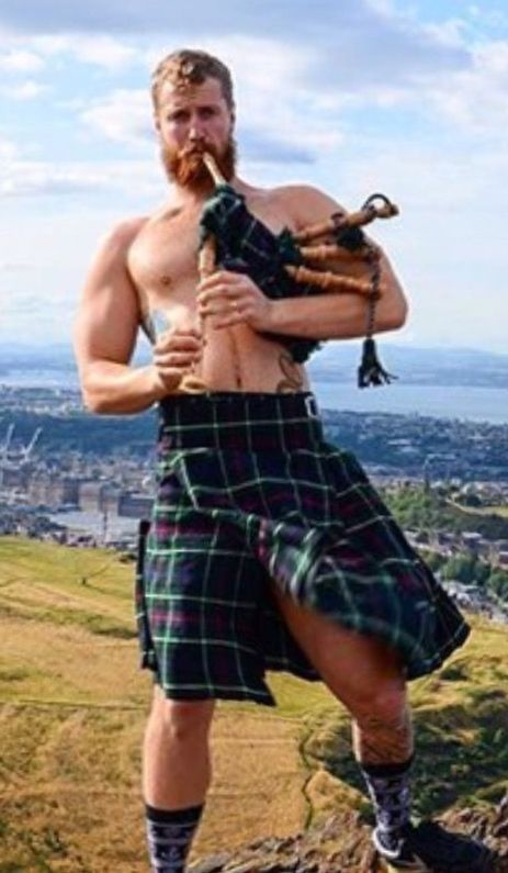 handsome, hunk, shirtless man, bagpipes