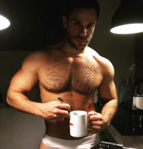 underwear, muscular man, coffee lover, handsome, hunk