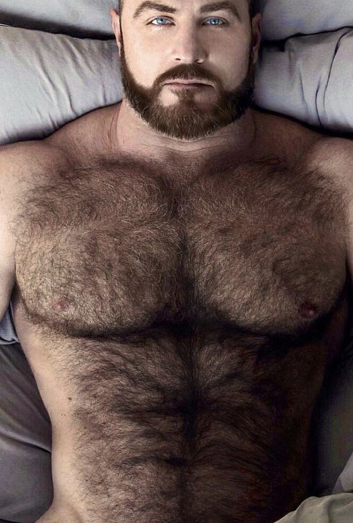hairy, hunk, naked in bed, handsome, furry