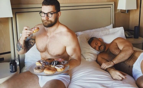 handsome, hunk, hairy, men in bed, gay couple in bed