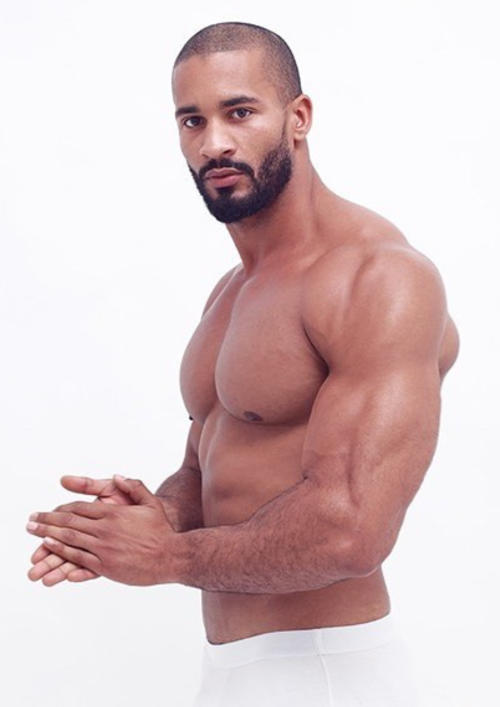 joel green, handosme, hunk, beautiful black man, muscular shirtless man