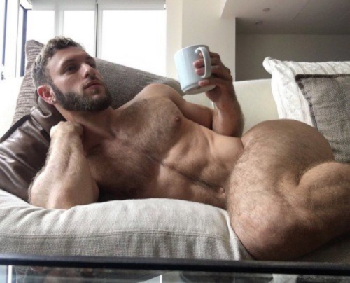 handsome, hunk, hairy, naked guy