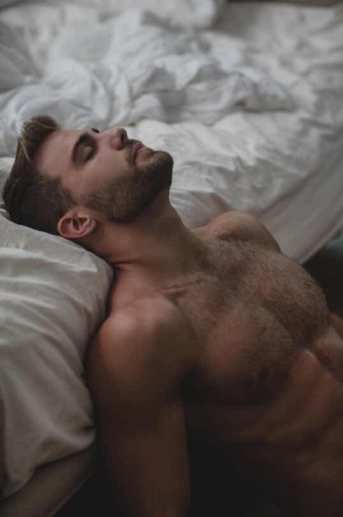 shirtless man, man in bed