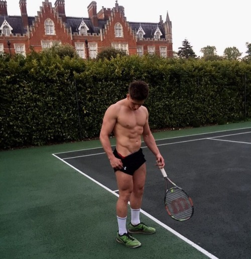 shirtless tennis player, gay jock