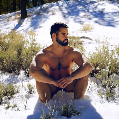 naked, handsome, hunk, hairy, guy in the snow