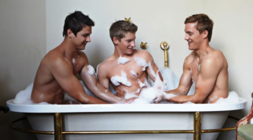 three men in a tub, men taking bath