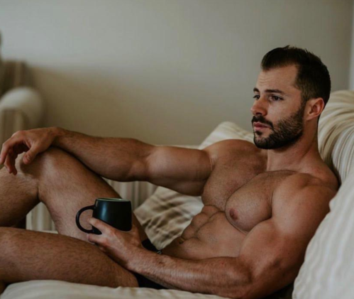 handsome, hunk, man with coffee