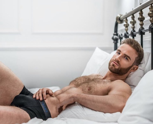 handsome, hunk, man in bed, man wearing underwear