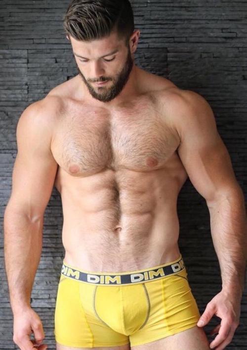 handsome man wearing yellow underwear