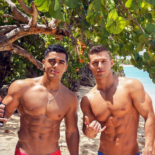 handsome, hunk, men on the beach