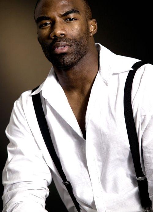 handsome, hunk, black man in suspenders