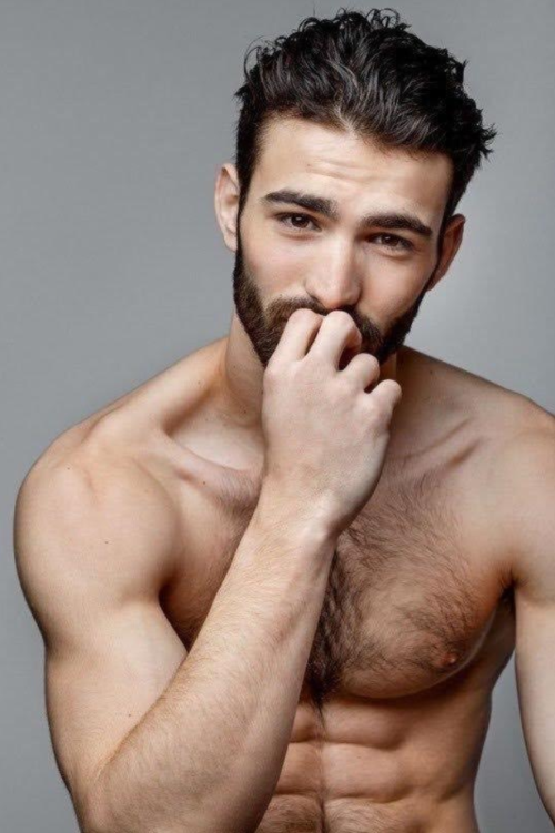 hairy chest, handsome, shirtless man