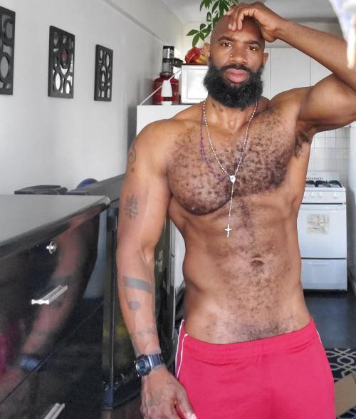 handsome, hairy black man