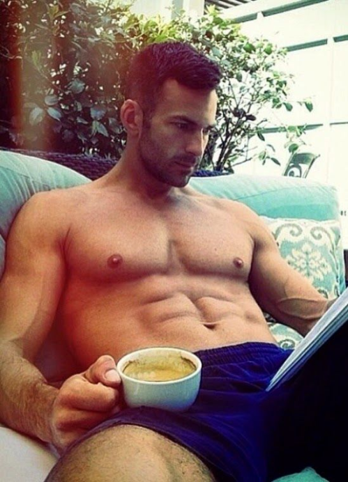 handsome man enjoying coffee
