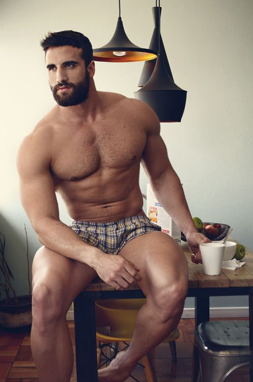 shirtless man, hunk, handsome, coffee drinker