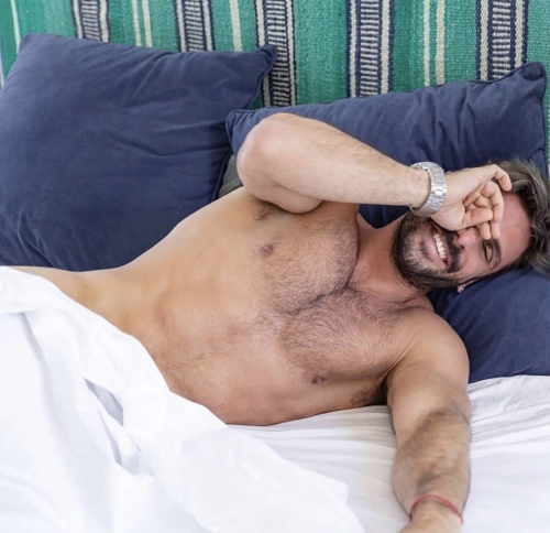 handsome, hunk, man in bed