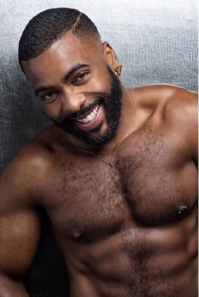 handsome, hairy, black man