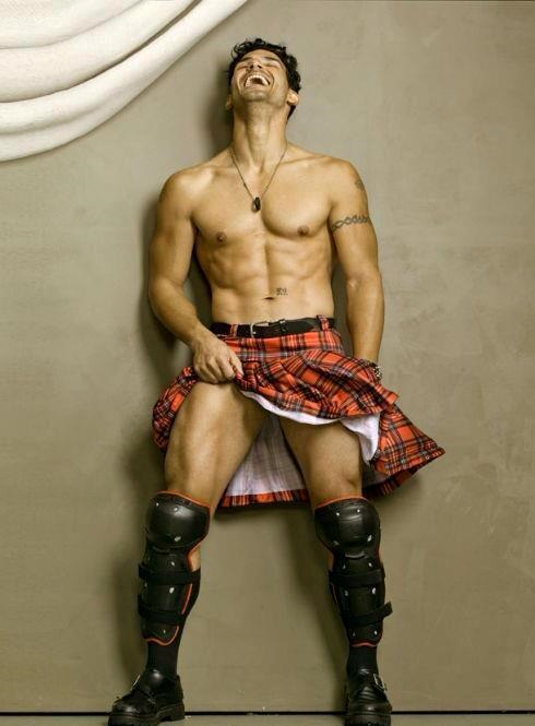 handsome, hunk, man wearing kilt