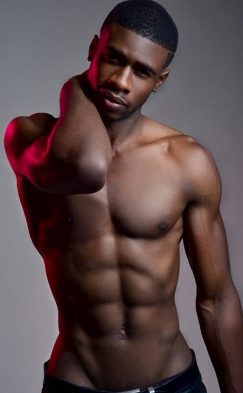 slim, muscular, handsome, young black man