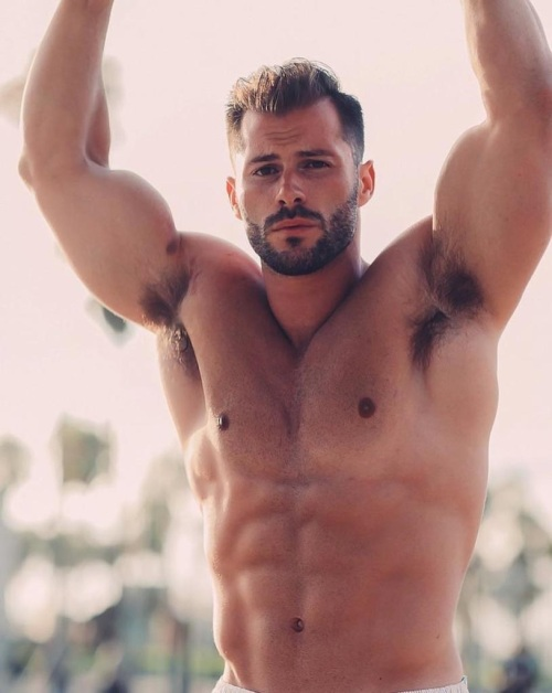muscular hunk, handsome guy, shirtless man, hairy