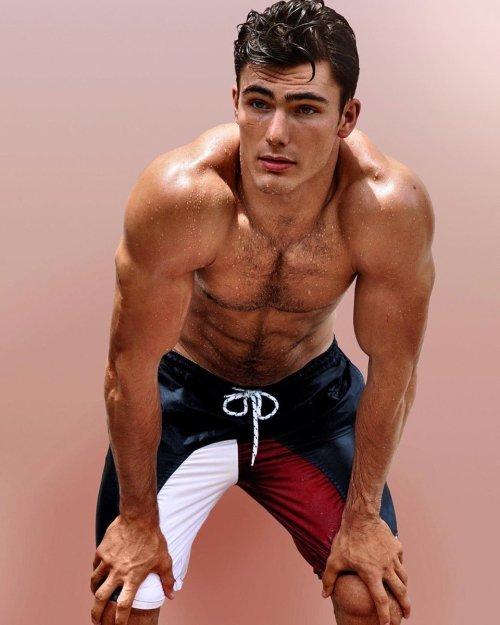 handsome, hunk, jock, sweaty, shirtless man