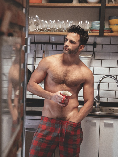 handsome, hunk, guy in pajamas