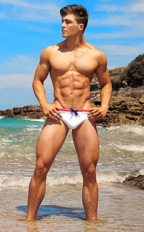 handsome, hunk, white speedo