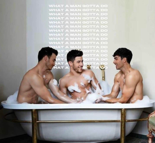 jonas brothers in a tub