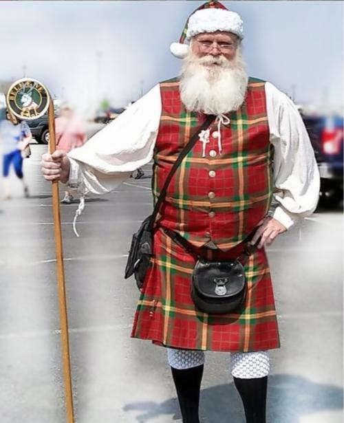Santa wearing a kilt