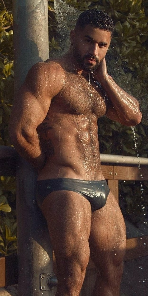 hairy, hunk, handsome man
